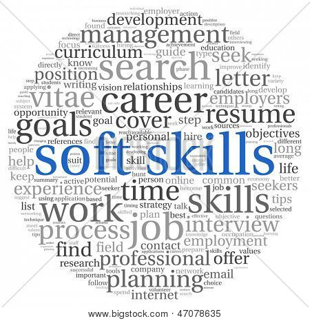 Soft skills concept in word tag cloud on white poster
