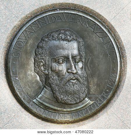 The Verrazano medallion.  Giovanni da Verrazano was a Florentine explorer of North America, in the service of the King Francis I of France poster