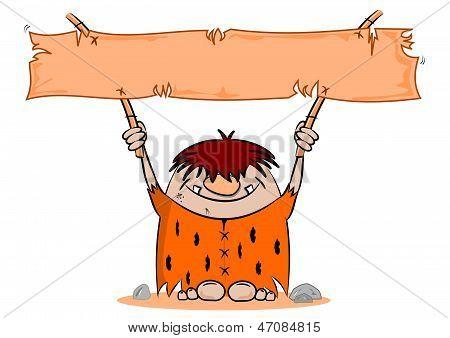 Cartoon Caveman with Blank Banner