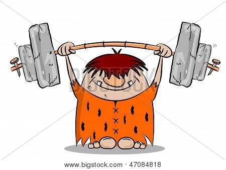Cartoon caveman weight lifting