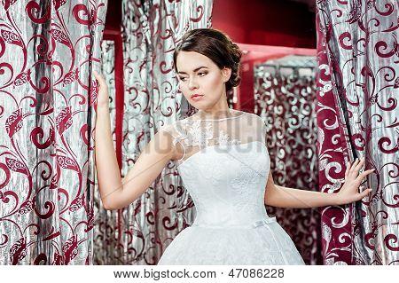 the bride in a locker room