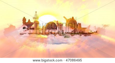Famous Landmarks from the City of Jeddah at sunset