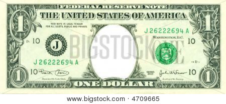 1 Dollar Bill With No Face