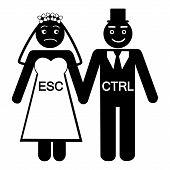 Humorous concept of a bride ESC groom CTRL icon vector illustration poster