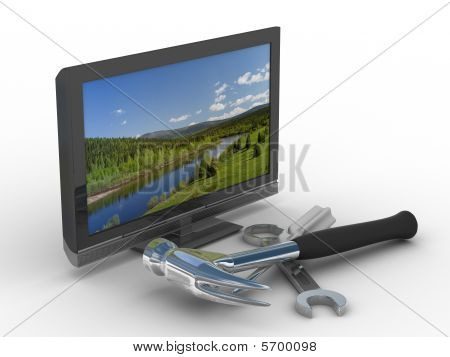 Tv Repair. Technical Service. Isolated 3D Image