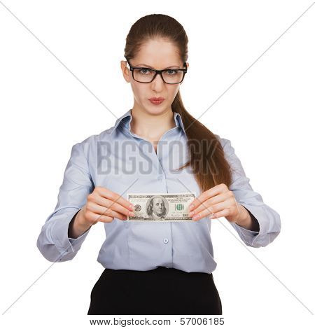 Woman With Disdain Holding Hundred Dollar Bill