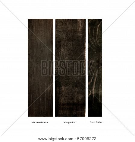 wood samples of Blackwood and Ebony, isolated
