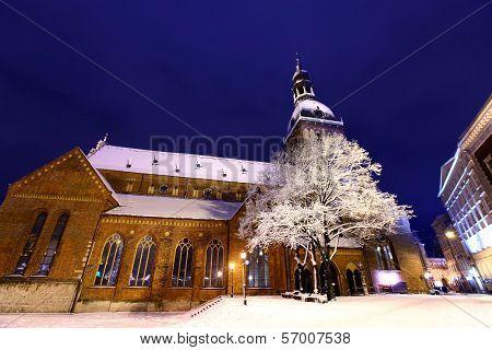 Dome Square At Night In Old Riga, Latvia