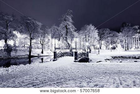 Central Park In Riga, Latvia At Winter Night