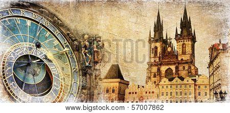 Old Prague - artistic vintage card
