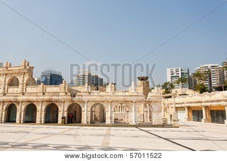 Ancient Roman architectural part of an entertainment complex in Macau Fisherman's Wharf.