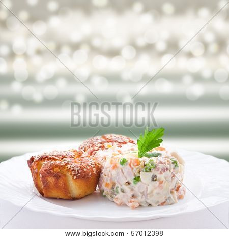 Appetizer - Russian Salad And Muffins With Cheese