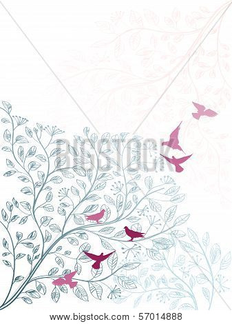 Elegant vertical floral background with branch of tree and birds poster