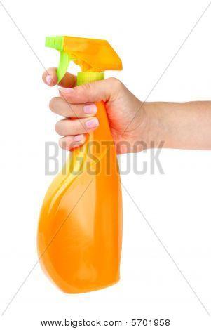 Hand Holding Sprayer Bottle