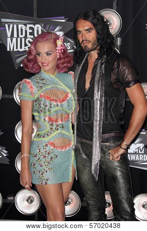 Katy Perry and Russell Brand at the 2011 MTV Video Music Awards Arrivals, Nokia Theatre LA Live, Los Angeles, CA 08-28-11