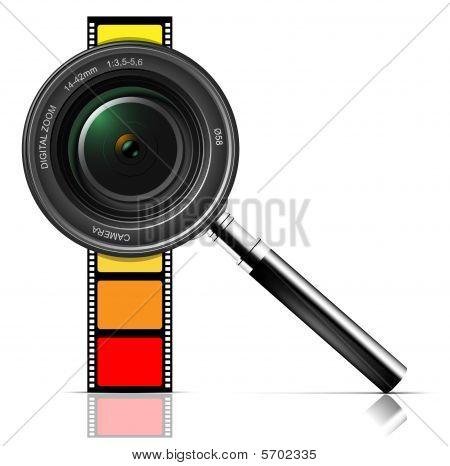 Kamera-Objektiv und film