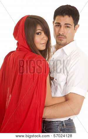 Man And Red Riding Hood Arms Looking