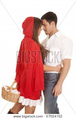 Man And Red Riding Hood Basket Heads Touch