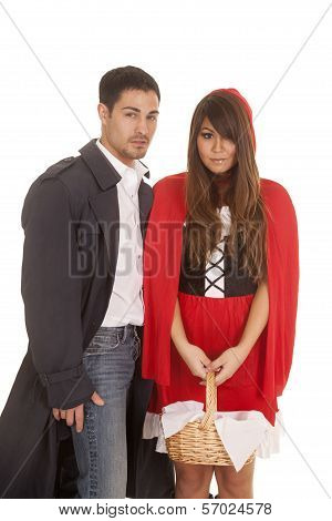 Man And Red Riding Hood With Basket Looking