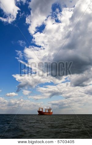 Tanker ship in open sea