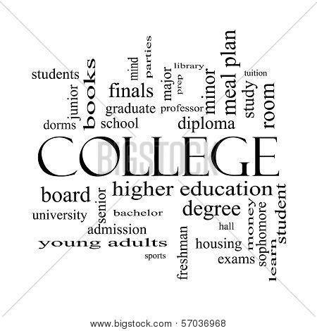 College Word Cloud Concept In Black And White