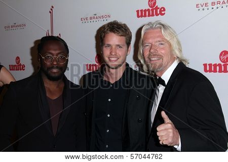 will.i.am, Richard Branson and son Sam Branson at the 5th Annual Rock The Kasbah Fundraising Gala, Boulevard 3, Hollywood, CA 11-16-11