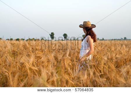 Girl In Wheat Field