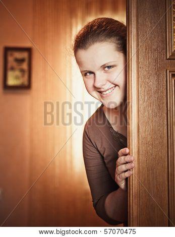 Girl Opening Door