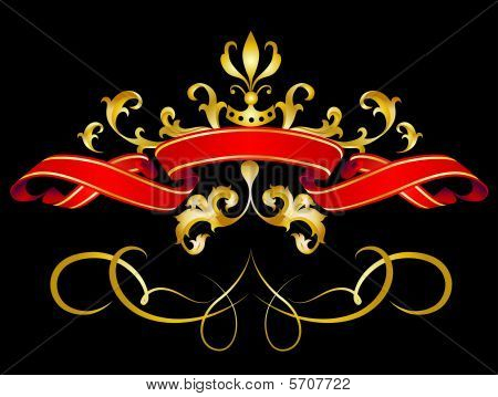 Vector illustration of Red Banner with gold strokes