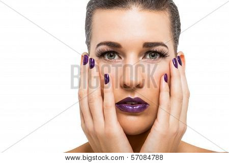 Graceful Attractive Woman With Purple Lips And Nails