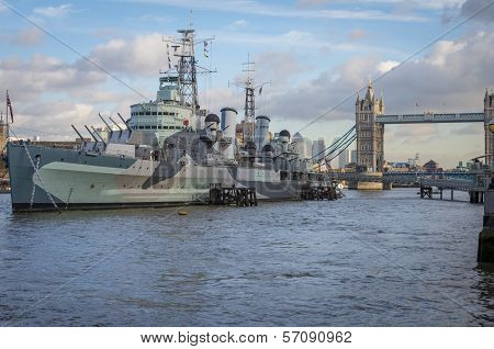 Tower Bridge London with HMS Belfast in foreground poster