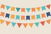 Three rows of vector party flags in pastel palette poster