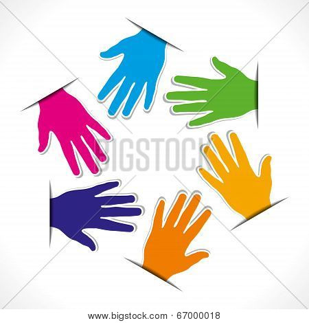 colorful hand round sticker vector