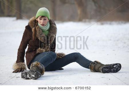 Woman Slips On Snowy Road