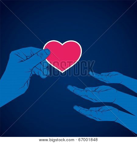 hand giving heart shape to another hand vector