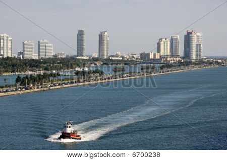 Tug Boat Approaching The Port Of Miami