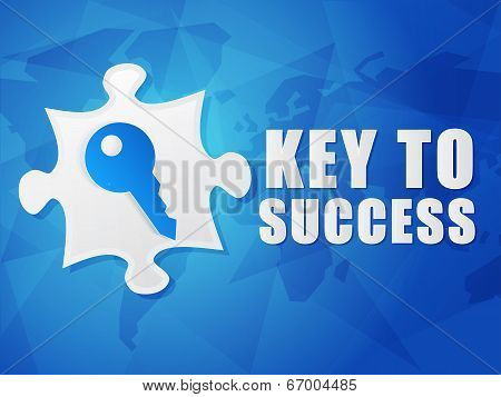 Key To Success And Puzzle Piece With Key Sign, Flat Design