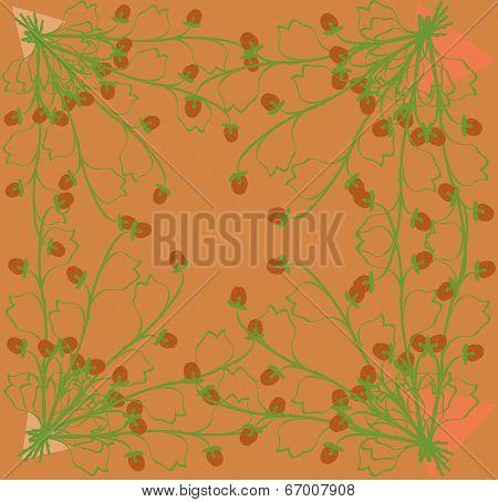 Gathering Herbs Strawberries On A Bright Orange Background.