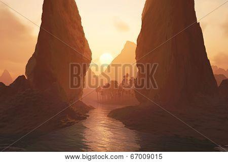 oasis at sunrise