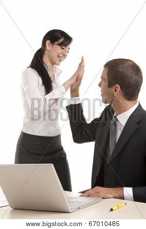 Excited business people giving high-five