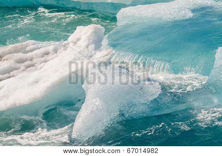 Ice floating on Jokulsarlon Ice Lagoon