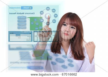 Female doctor using electronic health system to search patient medical record. poster