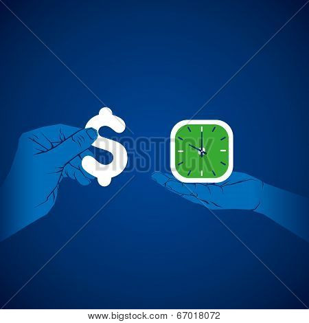 illustration of money and time concept stock vector