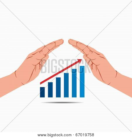 business growth graph under hand vector