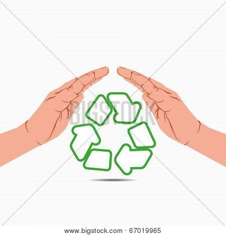 recycle symbol under hand vector