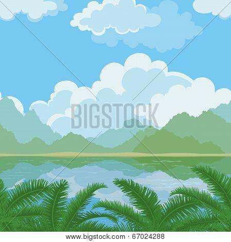 Seamless landscape, sea and plants