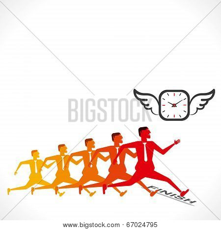 competition, men compete to time concept vector