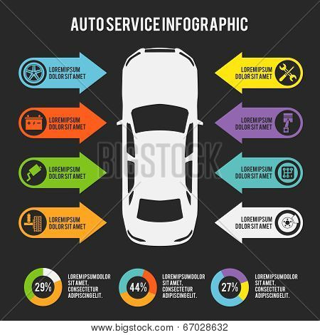 Auto mechanic car service infographic template with charts and maintenance elements vector illustration poster