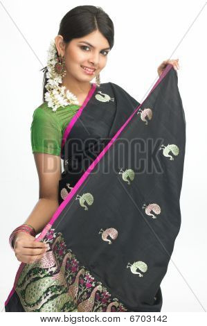 Woman in sari with nice expression