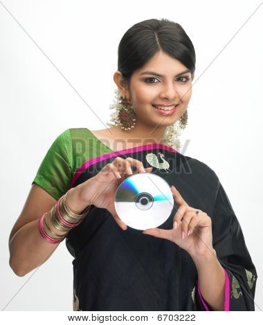 woman holding CD